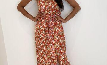 Orange Kasbah Elephant Print Cami Dress