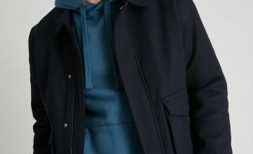 Navy Wool Rich Blouson Jacket