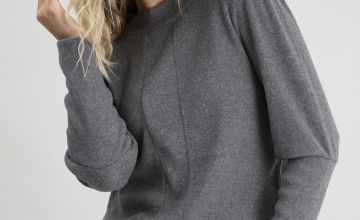 Grey Soft Touch Panelled High Neck Sweatshirt