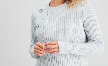 Silver Grey Marl Rib Knit Nursing Jumper