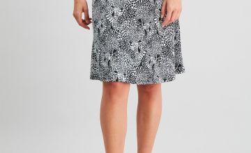Leopard Print Jersey Flippy Skirt