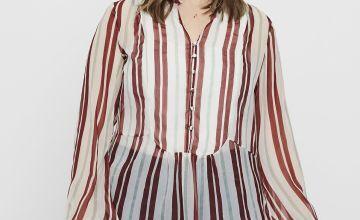 Dark Red & White Stripe Sheer Shirt