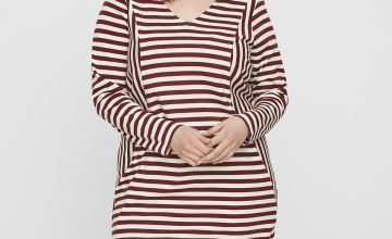 Red & White Stripe Long Sleeve Dress