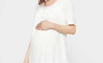 White Plissé 2-In-1 Maternity Top