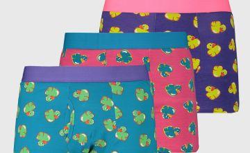Neon Rubber Duck Print Trunks 3 Pack