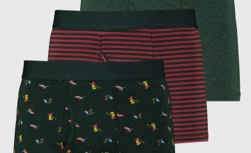 Green Bird & Striped Trunks 3 Pack