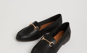 Sole Comfort Black Faux Leather Loafers