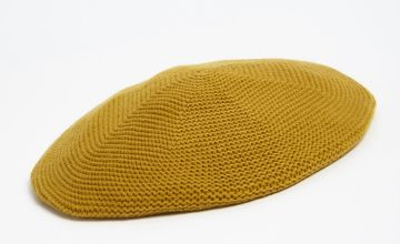 Ochre Knitted Beret - One Size