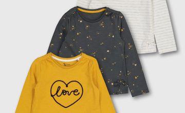 'Love' Long Sleeve Top 3 Pack