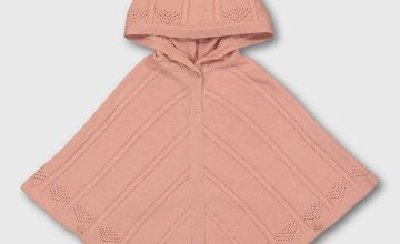 Pink Cable Knit Hooded Cape