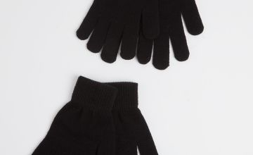 Black Knitted Gloves 2 Pack - One Size