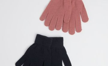 Navy & Pink Knitted Gloves 2 Pack - One Size