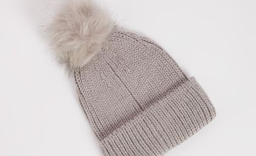 Grey Knitted Pom Pom Hat - One Size