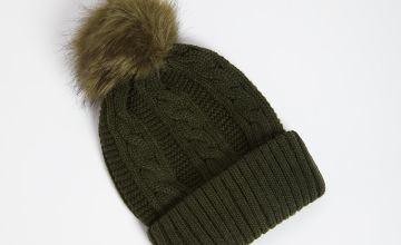 Khaki Cable Knit Pom Pom Hat - One Size