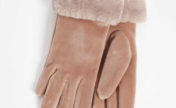 Mink Velvet Faux Fur Trim Gloves - One Size