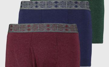 Aztec Pattern Waistband Trunks 3 Pack