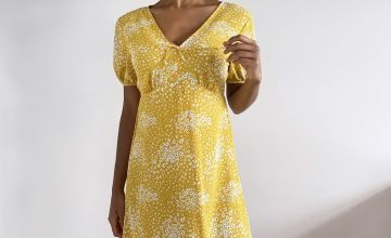 Yellow Ditsy Floral Tea Dress