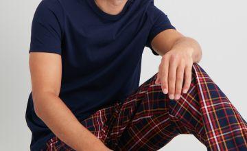 Navy & Check Full Length Pyjamas Set