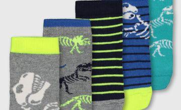 Dinosaur Skeleton Ankle Socks 5 Pack