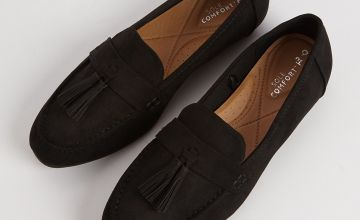 Sole Comfort Black Tassel Loafers
