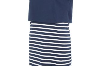 Navy & White Stripe Jersey Dress