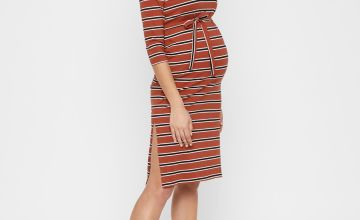 Rust Stripe Jersey Maternity Dress