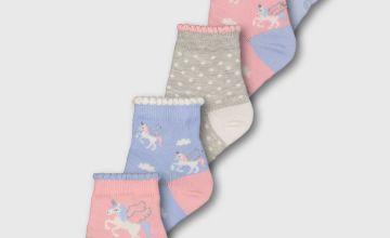 Pink Unicorn Ankle Socks 5 Pack