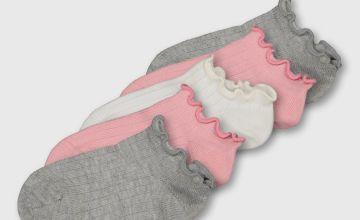 Pink Ruffle Trainer Socks 5 Pack