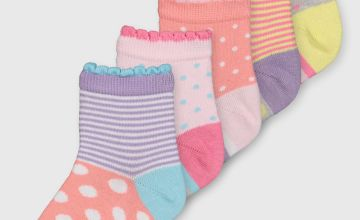 Pastel Spot & Stripe Ankle Sock 5 Pack