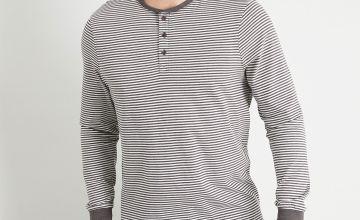 Grey Stripe Grandad Loungewear Top
