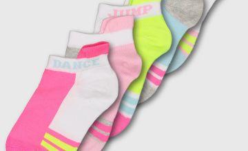 Neon Trainer Socks 5 Pack