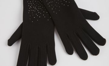 Black Embellished Fleece Gloves - One Size