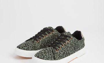 Khaki Leopard Print Lace Up Trainers
