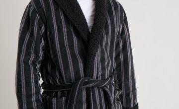 Stripe Borg Lined Loungewear Dressing Gown