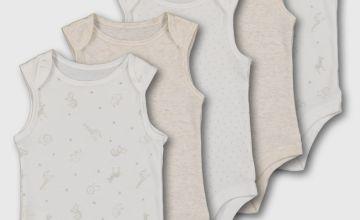 Safari Print Sleeveless Bodysuit 5 Pack