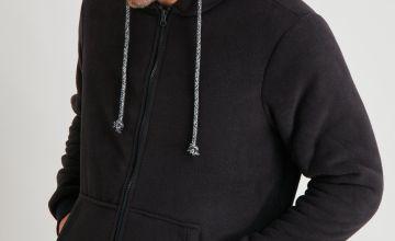 Black Fleece Zip Through Loungewear Hoodie