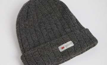 3M Charcoal Ribbed Knit Beanie Hat - One Size