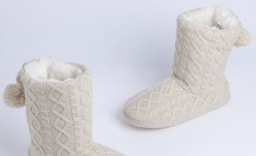 Beige Knitted Slipper Boots