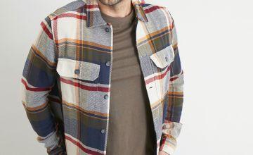 Khaki & Ochre Button Through Overshirt