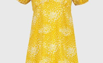 PETITE Yellow Ditsy Floral Tea Dress