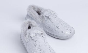 Grey Star Print Full Slippers