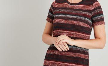 Stripe Ribbed Short Sleeve Dress