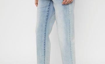 Rib Cropped Mom Jeans