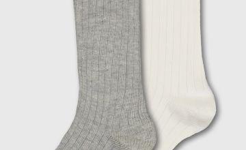 Ribbed Knee High Socks 2 Pack