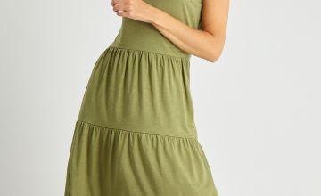 Khaki Jersey Tiered Maxi Dress