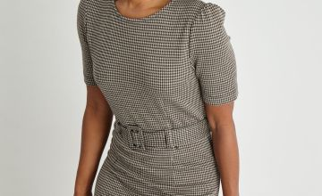 Check Print Belted Shift Dress