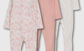 Pink Floral Sleepsuits 3 Pack
