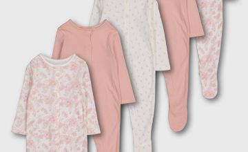 Pink Floral Sleepsuits 5 Pack