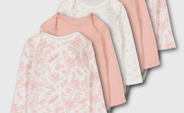 Pink Long Sleeve Bodysuit 5 Pack