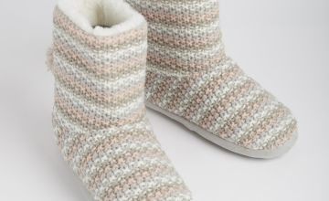 Pink & Grey Knitted Slipper Boots